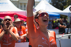 Sara Bergen (USA) of Rally Cycling Team celebrates her teammates' success after Stage 3 of the Amgen Tour of California - a 70 km road race, starting and finishing in Sacramento on May 19, 2018, in California, United States. (Photo by Balint Hamvas/Velofocus.com)