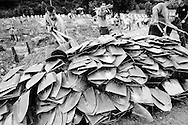 The shovels used to bury the victims of Srebrenica massacre are stacked at the end of the mass funeral.