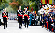 12-10-2015 MADRID - Spanish King Felipe VI, Queen Letizia and their daughters, Princesses Leonor and Sofia watch an army parade marking Spain's National Day in Madrid, Spain, 12 October COPYRIGHT ROBIN UTRECHT<br /> 2015/12/10 MADRID - Spaanse koning Felipe VI, koningin Letizia en hun dochters, prinsessen Leonor en Sofia kijken een miliatire leger parade markering Spaanse Nationale Dag in Madrid, Spanje, 12 oktober  nationale feestdag Koningspaar Spanje bij parade nationale feestdag<br /> 12-10-2015<br /> Koning Felipe heeft in Madrid een militair defil&eacute; afgenomen ter gelegenheid van de nationale feestdag van Spanje. De koning werd op de eretribune vergezeld door koningin Letizia en hun dochters Leonor en Sofia, die voor de tweede keer bij de parade aanwezig waren.  COPYRIGHT ROBIN UTRECHT
