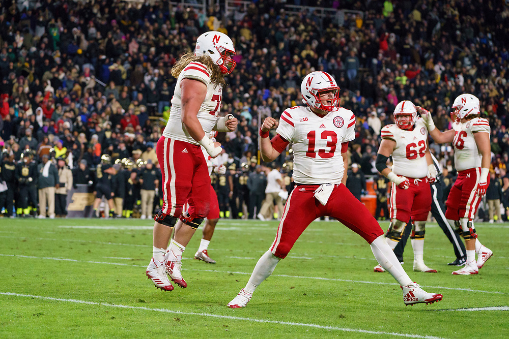 Nebraska Cornhuskers quarterback Tanner Lee #13 celebrates after throwing the winning touchdown during Nebraska's win against Purdue at Ross-Ade Stadium in West Lafayette, Indiana on Oct. 28, 2017. Photo by Aaron Babcock, Hail Varsity