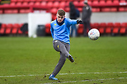 Alfie McCalmont of Leeds United Under 23's warming up before the U23 Professional Development League match between Barnsley and Leeds United at Oakwell, Barnsley, England on 9 March 2020.