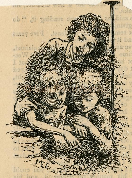 Siblings. Engraving 1888
