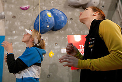 Angela Eiter of Austria and Mina Markovic of Slovenia during Final IFSC World Cup Competition in sport climbing Kranj 2010, on November 14, 2010 in Arena Zlato polje, Kranj, Slovenia. (Photo By Vid Ponikvar / Sportida.com)
