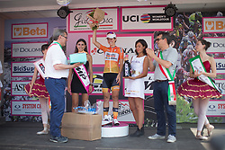 Stage winner Evelyn Stevens (USA) of Boels-Dolmans Cycling Team stands on the podium after the Giro Rosa 2016 - Stage 7. A 21.9 km individual time trial from Albisola to Varazze, Italy on July 8th 2016
