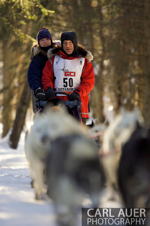 March 7th, 2009:  Anchorage, Alaska - Rob Loveman of Seeley Lake, Montana during the start of the 2009 Iditarod.