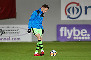 Forest Green Rovers Mark Roberts(21) warming up during the 2nd round replay in The FA Cup match between Exeter City and Forest Green Rovers at St James' Park, Exeter, England on 12 December 2017. Photo by Shane Healey.