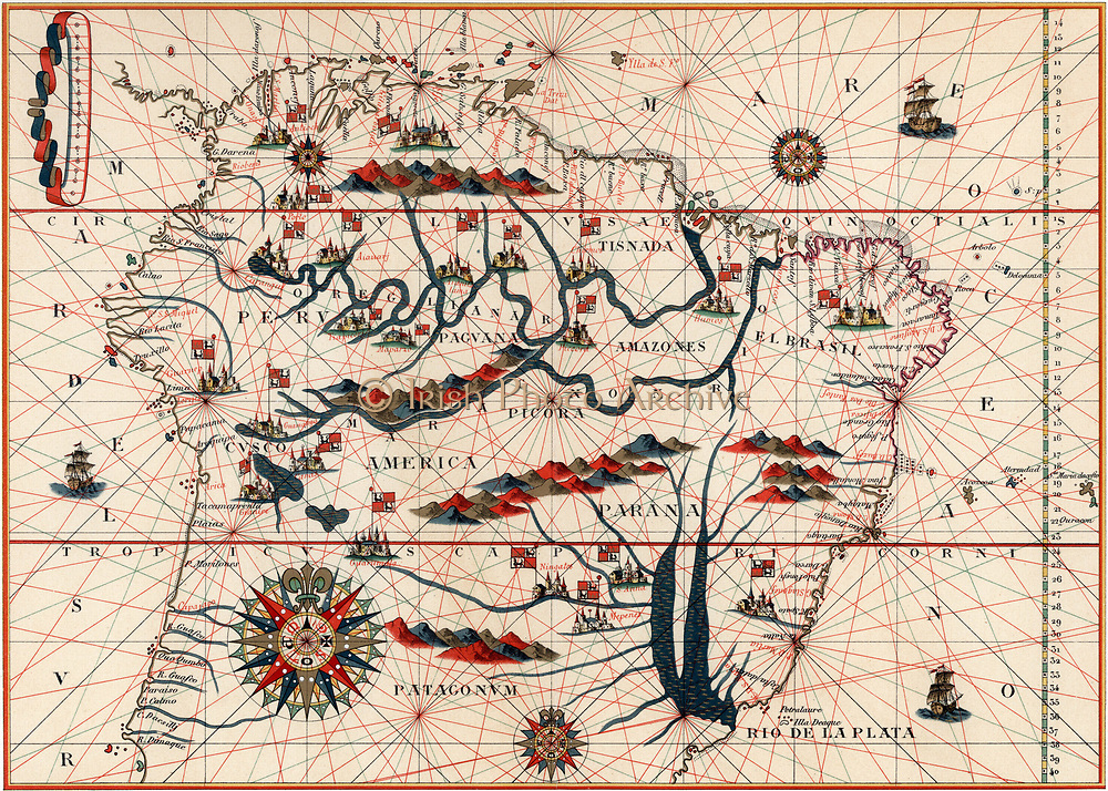 Amazon and the River Plate. From a Spanish map of South America 1582.