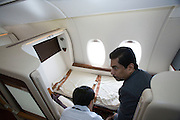 Airbus A380 first commercial flight - Singapore Airlines SQ 380 Singapore-Sydney on October 25, 2007. A First Class Suite. Making the bed.