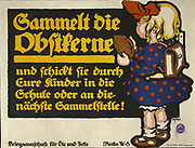 World War I 1914-1918 German poster telling people to save fruit stones. Little schoolgirl with a plum stone in her hand. Issued by War Commission for Oils and Fats, 1916. Julius Gipkens (1883-1966) German Graphic artist.