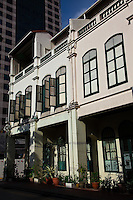 Street view of shophouses in Singapore's Chinatown district.