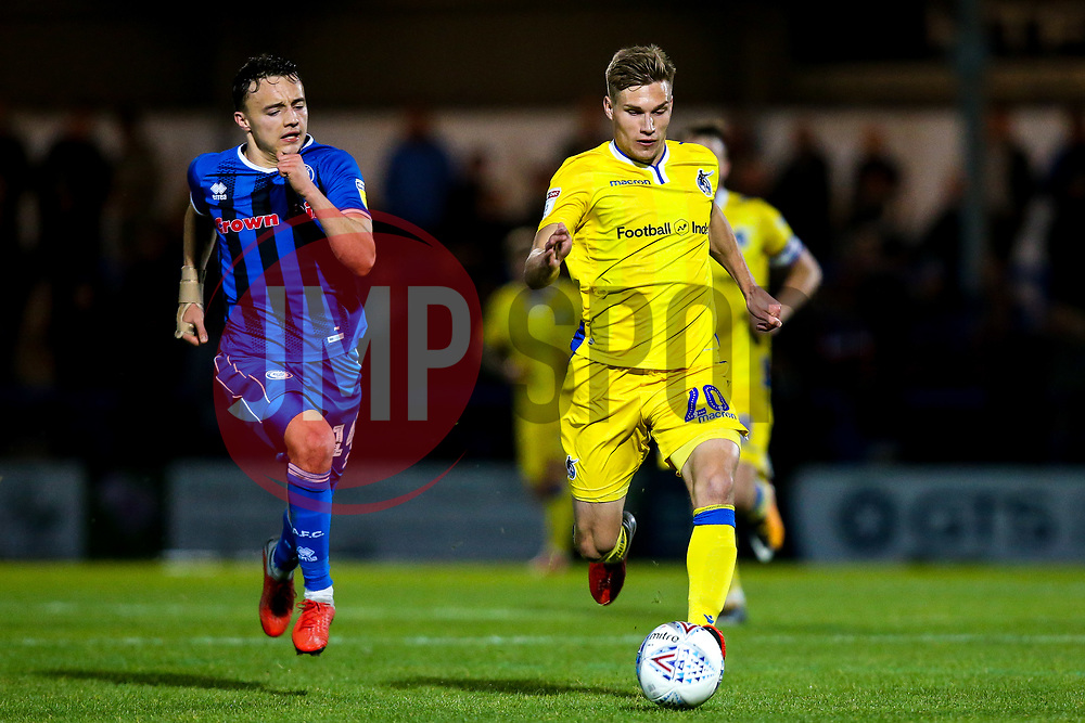 Gavin Reilly of Bristol Rovers goes past Ollie Rathbone of Rochdale - Mandatory by-line: Robbie Stephenson/JMP - 02/10/2018 - FOOTBALL - Crown Oil Arena - Rochdale, England - Rochdale v Bristol Rovers - Sky Bet League One