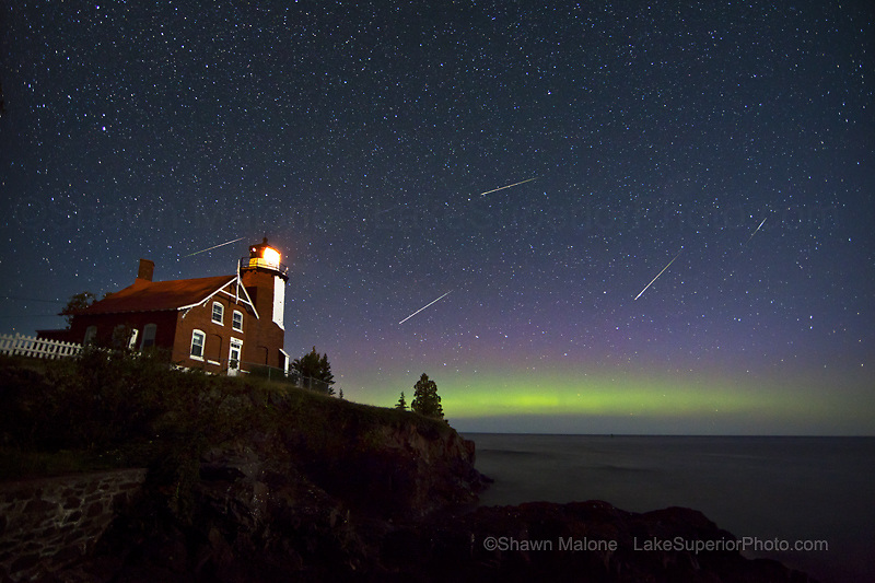Eagle Harbor Lighthouse, Perseid Meteor shower, Aurora, northern lights,Keweenaw,Upper Peninsula,night sky,photography
