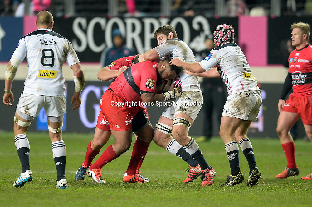 Mathieu Bastareaud / Pascal Pape - 28.12.2014 - Stade Francais / Racing Club Toulon - 14eme journŽe de Top 14<br />