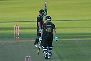 50 - Harry Swindells acknowledges the crowd on reaching 50 during the Vitality T20 Blast North Group match between Leicestershire Foxes and Notts Outlaws at the Fischer County Ground, Grace Road, Leicester, United Kingdom on 23 August 2019.