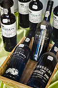 Fonseca vintage tawny port on display for sale at famous Manual Tavores shop in Rua de Betesga, Praca de Figueira in Lisbon, Portugal