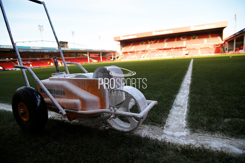 Painting lines at the Banks's Stadium before the EFL Sky Bet League 2 match between Walsall and Crawley Town at the Banks's Stadium, Walsall, England on 18 January 2020.