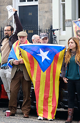 Pictured: <br /> <br /> Protesters gathered outside the Spanish Consulate in Edinburgh to protest against the restrictions imposed on a vote for independence for Catelonia.<br /> <br /> Alex Todd | EEm 21 September 2017