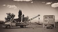 Little Aleinn in Rachel, Nevada. Image taken with a Nikon D3x and 45 mm f/2.8 PC-E lens (ISO 100, 45 mm, f/16, 1/80 sec). Converted to B&W with Nik Silver Efex Pro 2.
