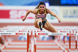 Pamela Dutkiewicz of Germany competes in the Women's 60 metres Hurdles heats on day one of the 2017 European Athletics Indoor Championships at the Kombank Arena on March 3, 2017 in Belgrade, Serbia. Photo by Vid Ponikvar / Sportida