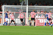 Barrow score the opening goal during the Vanarama National League match between Cheltenham Town and Barrow at Whaddon Road, Cheltenham, England on 22 August 2015. Photo by Antony Thompson.