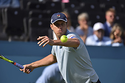 June 18, 2018 - London, England, United Kingdom - Sam Querrey of the United States hits a forehand during the first round match against Jay Clarke of Great Britain during Day one of the Fever-Tree Championships at Queens Club on June 18, 2018 in London, United Kingdom. (Credit Image: © Alberto Pezzali/NurPhoto via ZUMA Press)