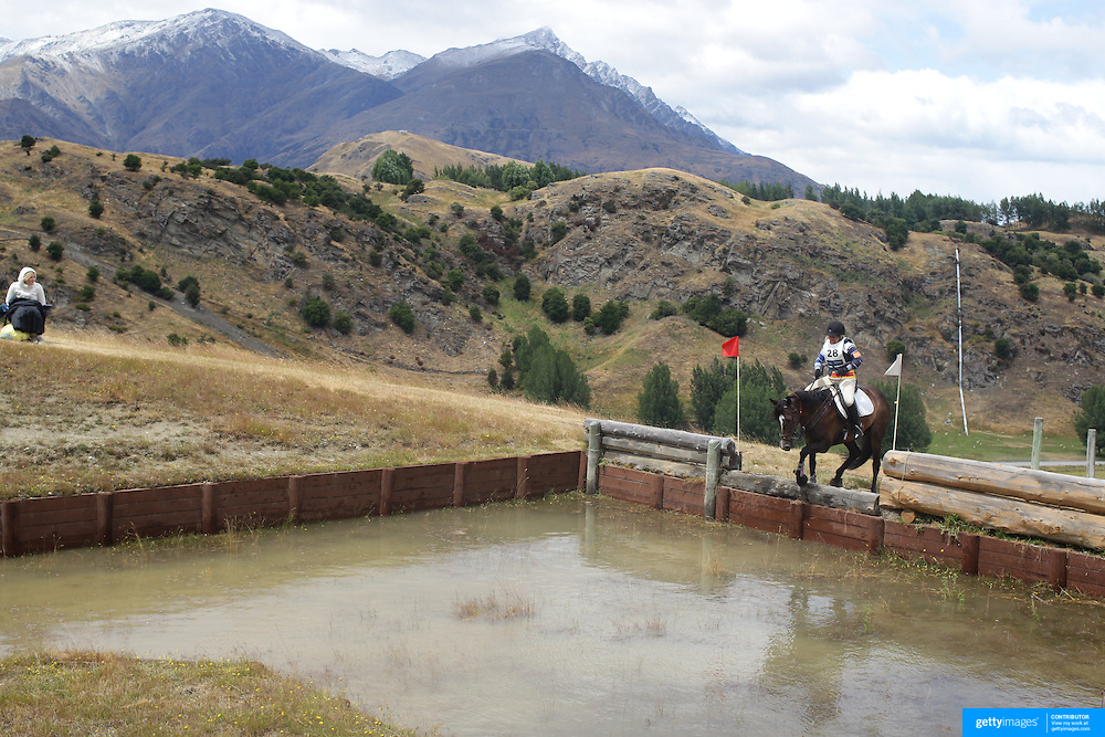 Cara Johnston riding Kahn in action at the water jump during the Cross Country event at the Wakatipu One Day Horse Trials at the Pony Club grounds,  Queenstown, Otago, New Zealand. 15th January 2012. Photo Tim Clayton