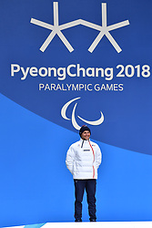 DAVIET Benjamin FRA LW2, ParaSkiDeFond, Para Nordic Skiing, 20km, Podium at  the PyeongChang2018 Winter Paralympic Games, South Korea.