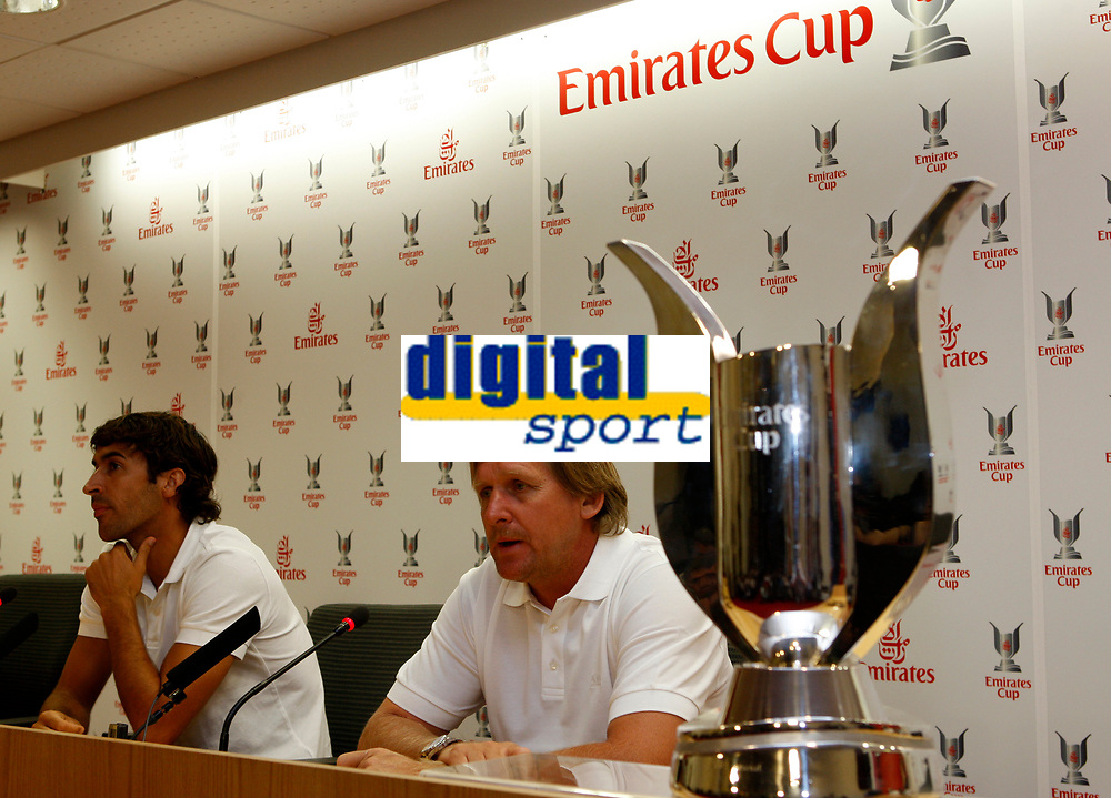 Photo: Richard Lane Photography. Emirates Cup Press Conference. 01/08/2008. The Emirates Cup. Real Madrid captain, Raul and manager, Bernd Schuster (rt).