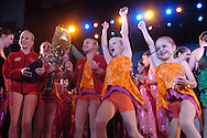 Crystal Barney(l), Whitney Schamnski(second from left), Skylar Olsen(second from right), and Alexia Meyer(r), dancers from the Dance Club of Orem, Utah, celebrate winning the New York Dance Alliance's National Mini Critics' Choice award at the New York Dance Alliance's national competition finale July 10, 2005 in New York City. <br />
