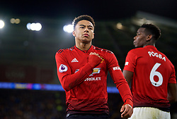 CARDIFF, WALES - Saturday, December 22, 2018: Manchester United's Jesse Lingard celebrates scoring the fourth goal with team-mates during the FA Premier League match between Cardiff City FC and Manchester United FC at the Cardiff City Stadium. Manchester United won 5-1.(Pic by Vegard Grøtt/Propaganda)