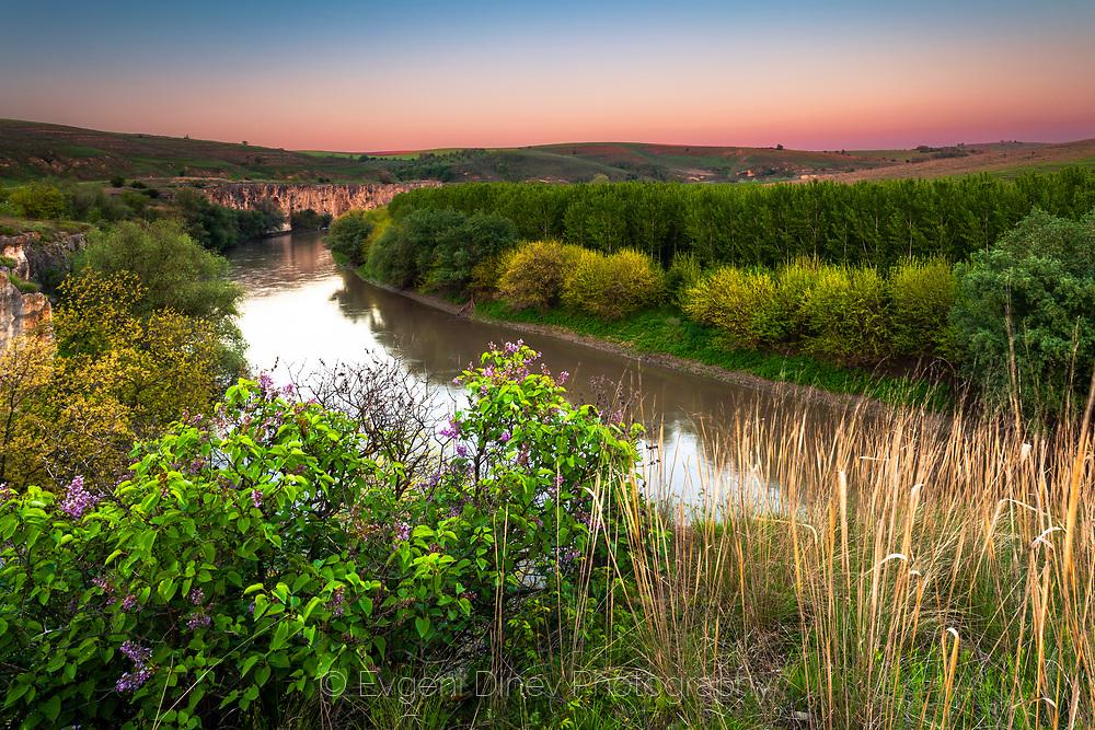 Canyon of Yantra river at dusk