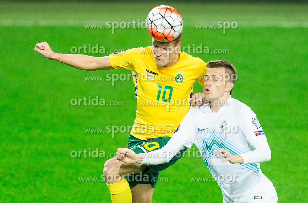 Vykintas Slivka of Lithuania vs Josip Ilicic of Slovenia during the EURO 2016 Qualifier Group E match between Slovenia and Lithuania, on October 9, 2015 in SRC Stozice, Ljubljana Slovenia. Photo by Vid Ponikvar / Sportida