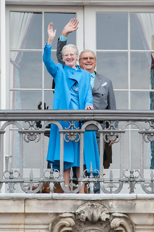 16.04.2016. Copenhagen, Denmark.<br /> Queen Margrethe II celebrates her 76th birthday with her whole family. Queen Margrethe II and Prince Henrik appears on the balcony of Christian IX's Palace at Amalienborg Palace.<br /> Photo: © Ricardo Ramirez