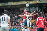 Hamza Bencherif (York City) heads the ball during the Vanarama National League match between York City and Forest Green Rovers at Bootham Crescent, York, England on 29 April 2017. Photo by Mark PDoherty.