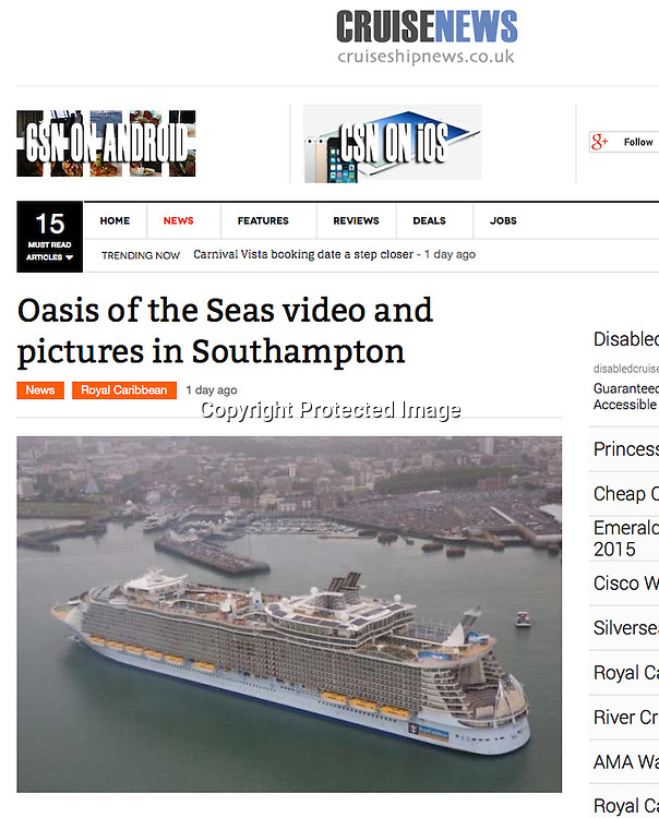 Royal Caribbean International's Oasis of the Seas Southampton visit cuttings.<br /> Cruise News 161014 website.