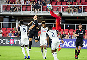 WASHINGTON, DC - AUGUST 29: Philadelphia Union goalkeeper Andre Blake (18) saves a header from D.C. United defender Frederic Brillant (13) during a MLS match between D.C United and the Philadelphia Union on August 29, 2018, at Audi Field, in Washington, DC. <br /> The Philadelphia Union defeated DC United 2-0.<br /> (Photo by Tony Quinn/Icon Sportswire)