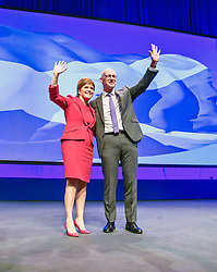 Pictured: Nicola Sturgeon, MSP, First Ministe and John Swinney, Deputy First Minister<br /> The members of the SNP gathered in the Scottish Events Centre in Glasgow for their annual conference.<br /> <br /> Ger Harley | EEm 8 October 2017