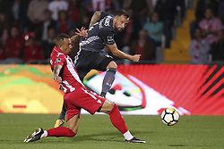 October 22, 2017 - Porto, Aves, Portugal - Ave´s player Diego Galo (L) with Benfica's Switzerland forward Haris Seferovic (R) during the Premier League 2017/18 match between CD Aves and SL Benfica, at Estadio do Clube Desportivo das Aves in Aves on October 22, 2017. (Credit Image: © Dpi/NurPhoto via ZUMA Press)