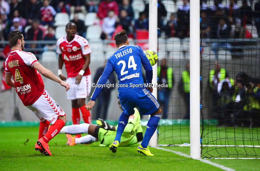 But Corentin TOLISSO - 26.04.2015 - Reims / Lyon - 34eme journee de Ligue 1<br />Photo : David Winter / Icon Sport