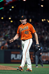 SAN FRANCISCO, CA - APRIL 28: Mark Melancon #41 of the San Francisco Giants celebrates after the game against the San Diego Padres at AT&T Park on April 28, 2017 in San Francisco, California. The San Francisco Giants defeated the San Diego Padres 4-3. (Photo by Jason O. Watson/Getty Images) *** Local Caption *** Mark Melancon