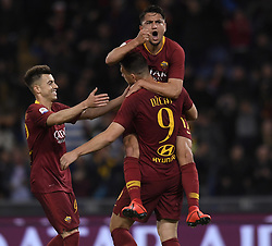 ROME, May 13, 2019  Roma's Edin Dzeko (Front) celebrates his goal with his teammates during a Serie A soccer match between Roma and FC Juventus in Rome, Italy, May 12 , 2019. Roma won 2-0. (Credit Image: © Xinhua via ZUMA Wire)