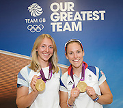 Rowing post-competition Press Conference at Team GB House, Stratford, London, Great Britain <br /> 5th August 2012 <br /> <br /> Rowing <br /> <br /> Katherine Copeland and Sophie Hosking women's lightweight doubles GOLD medalists <br /> <br /> GOLD medalists Men's Coxless Fours <br /> Andrew Triggs, Pete Reed, Tom James and Alex Gregory<br /> <br /> Lightweight Skull Men's Double <br /> Mark Hunter<br /> Zac Purchase<br /> SILVER medalists <br /> <br /> <br /> Photograph by Elliott Franks