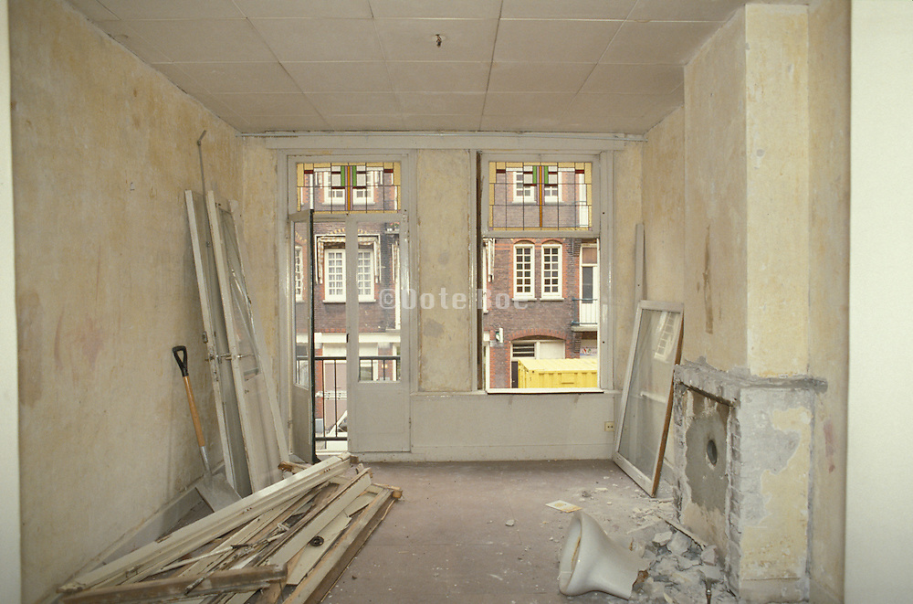 interior of apartment during remodeling, Staatsliedenbuurt Amsterdam Holland