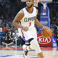 09 November 2015: Los Angeles Clippers guard Chris Paul (3) brings the ball up court during the Los Angeles Clippers 94-92 victory over the Memphis Grizzlies, at the Staples Center, in Los Angeles, California, USA.