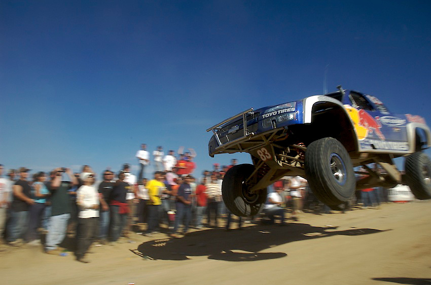 Robby Gordon jumps his Red Bull Trophy  Truck at Ojos Negros during the 2005 Baja 1000.