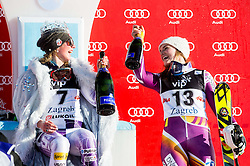 "Winner Shiffrin Mikaela (USA) and third placed Loeseth Nina (NOR) celebrate at flower ceremony after the FIS Alpine Ski World Cup 2014/15 5th Ladies' Slalom race named ""Snow Queen Trophy 2015"", on January 4, 2015 in Course Crveni Spust at Sljeme hill, Zagreb, Croatia.  Photo by Vid Ponikvar / Sportida"