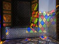 MARRAKESH, MOROCCO - CIRCA APRIL 2017: Window reflections on the Bahia Palace in Marrakech