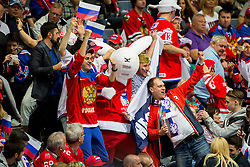Fans of Russia with mascot Bobek during Ice Hockey match between USA and Russia at Semifinals of 2015 IIHF World Championship, on May 16, 2015 in O2 Arena, Prague, Czech Republic. Photo by Vid Ponikvar / Sportida