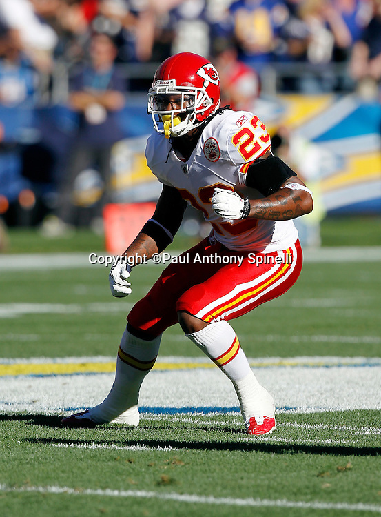 Kansas City Chiefs safety Kendrick Lewis (23) drops back in pass coverage during the NFL week 14 football game against the San Diego Chargers on Sunday, December 12, 2010 in San Diego, California. The Chargers won the game 31-0. (©Paul Anthony Spinelli)