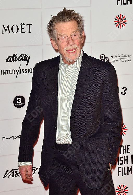 09.DECEMBER.2012. LONDON<br /> <br /> JOHN HURT ATTENDS THE BRITISH INDEPENDENT FILM AWARDS AT OLD BILLINGSGATE MARKET. <br /> <br /> BYLINE: JOE ALVAREZ/EDBIMAGEARCHIVE.CO.UK<br /> <br /> *THIS IMAGE IS STRICTLY FOR UK NEWSPAPERS AND MAGAZINES ONLY*<br /> *FOR WORLD WIDE SALES AND WEB USE PLEASE CONTACT EDBIMAGEARCHIVE - 0208 954 5968*